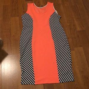 DGNY Neon Orange, Black and white striped dress